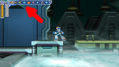 Flame Mammoth Stage -- Mega Man: Maverick Hunter X, with Giant Red Arrow