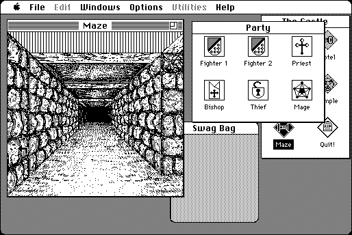 Wizardry for Mac with detailed dungeon graphics