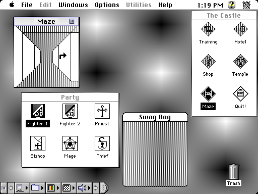 Wizardry for Mac with lineart dungeon graphics